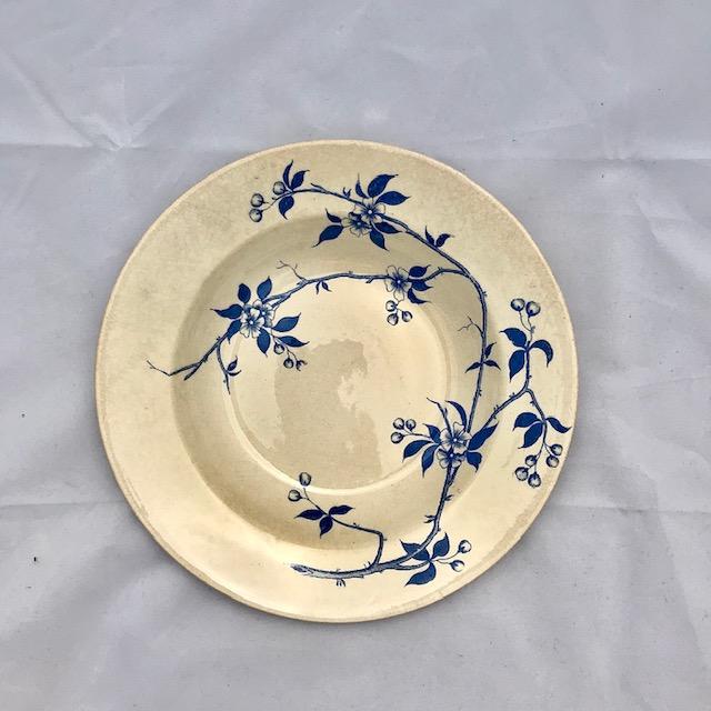Assiette creuse terre de fer bleue