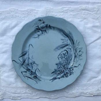 Assiette en terre de fer bleue