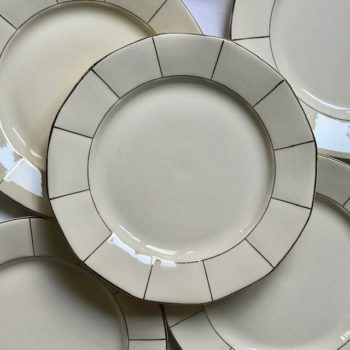 Assiette blanc crème et doré Sarreguemines