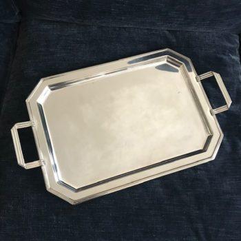 Grand plateau en métal argenté