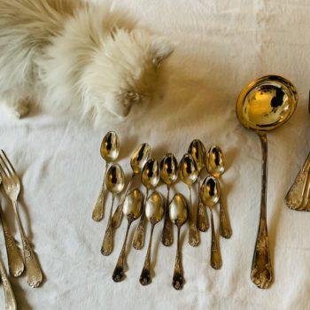 Partie de ménagère en métal argenté