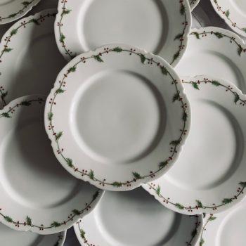 Assiettes à dessert en porcelaine, motif houx