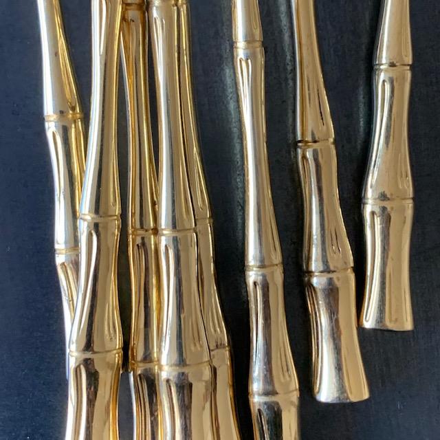 Cuillères bambou vintage en métal
