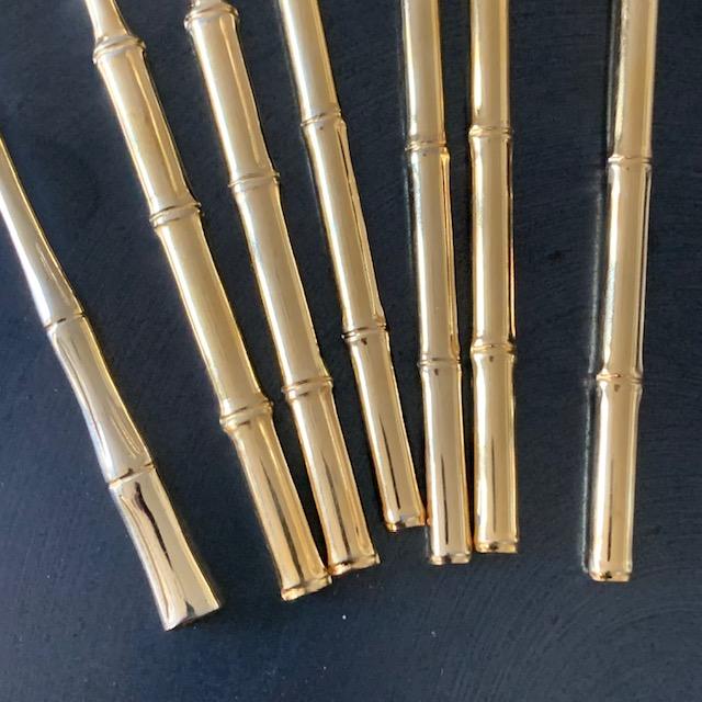 Lot de couverts bambous en métal doré