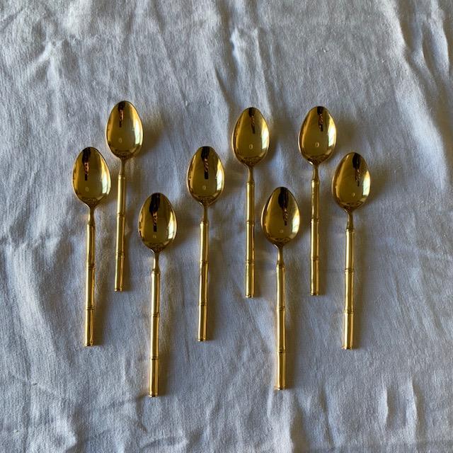 Cuillères à entremets bambou en métal doré