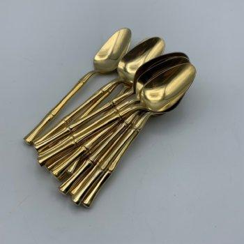 Petites cuillères bambou en métal doré