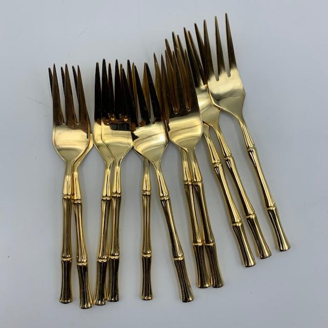 Fourchettes à dessert bambou en métal doré