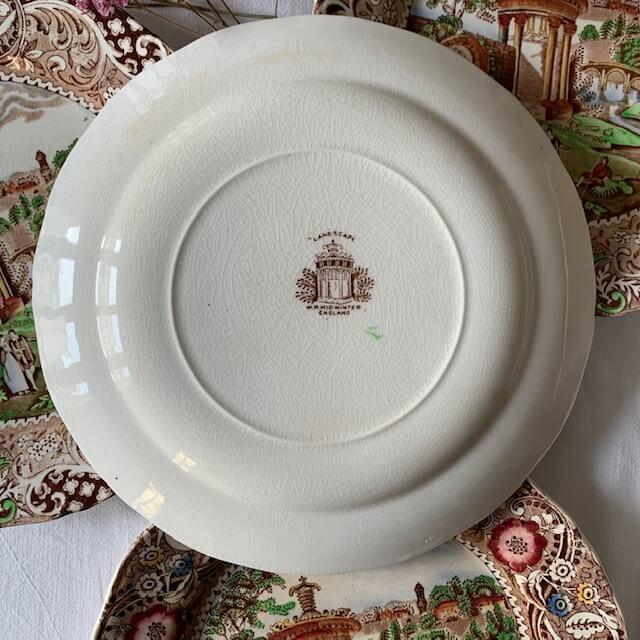 Chinoiserie en faïence anglaise – assiettes plates