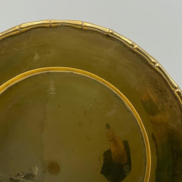 Plat ou plateau en laiton vintage bambou