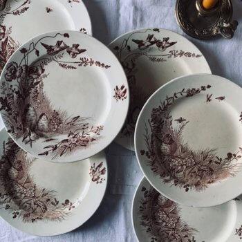 Lot de six assiettes du service Oiseaux de Jules Vieillard Bordeaux