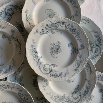 Assiettes anciennes en faïence anglaise Cauldon